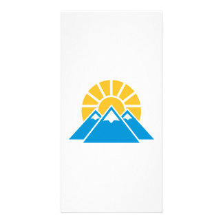 Mountains sun custom photo card