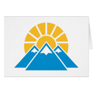 Mountains sun greeting card
