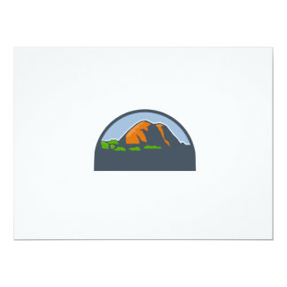 Mountains Trees Half Circle Retro Card