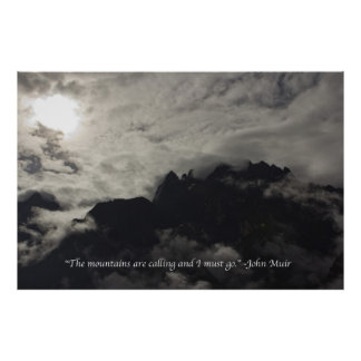 Mountains with Quote - Large Poster