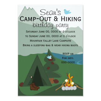"""Mountainscape Camping 5"""" X 7"""" Invitation Card"""