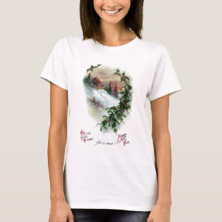 Mountainside in Winter Vintage New Year T-Shirt