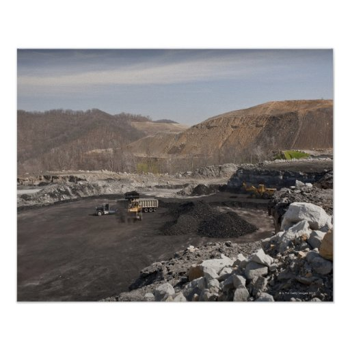 Mountaintop surface coal mine showing coal being print