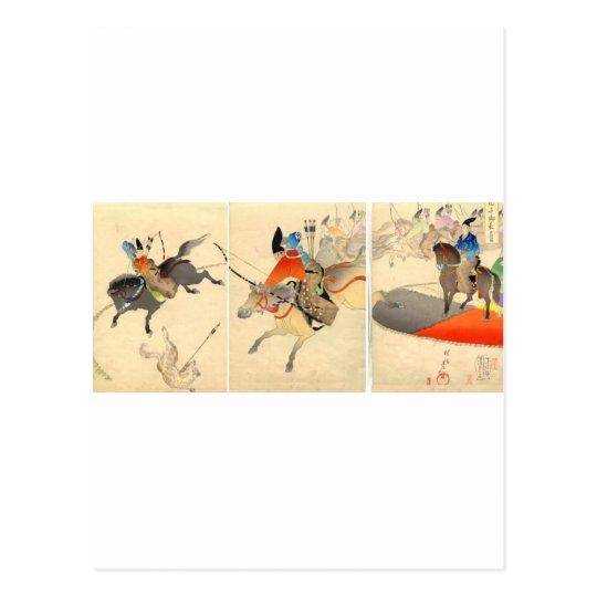 Mounted Archery Chasing Dogs circa 1896. Japan. Postcard