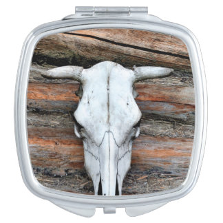 Mounted Cow Skull Compact Mirror
