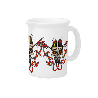 Mounted Cyborg Skull with Flames Beverage Pitchers
