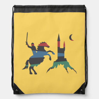Mounted Hero vs Castle Drawstring Bag
