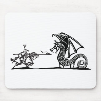 Mounted Knight and Dragon Mouse Pad