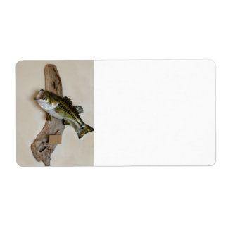 mounted large mouth bass label