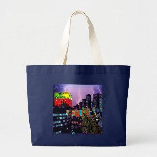 Mounted Policemen Asian City Modern Art Print Large Tote Bag