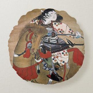 Mounted Samurai Round Pillow