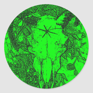 Mounted Stang Pencil Sketch in Green Classic Round Sticker