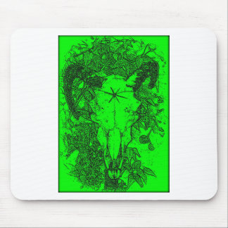 Mounted Stang Pencil Sketch in Green Mouse Pad