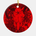 Mounted Stang Pencil Sketch in Red Christmas Ornaments
