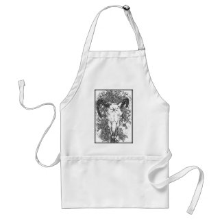 Mounted Stang Pencil Sketch in White Apron