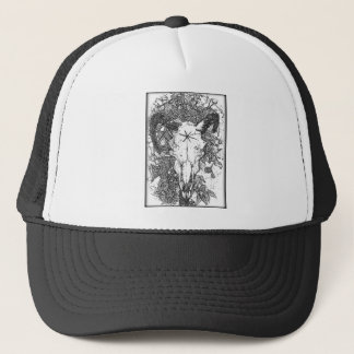Mounted Stang Pencil Sketch in White Trucker Hat