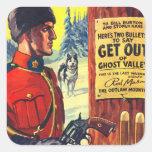 Mountie retro del proscrito de la revista de pulpa etiquetas