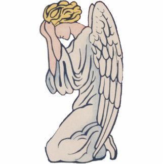 Mourning angel photo sculpture ornament