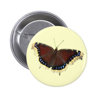 Mourning Cloak butterfly ~ button