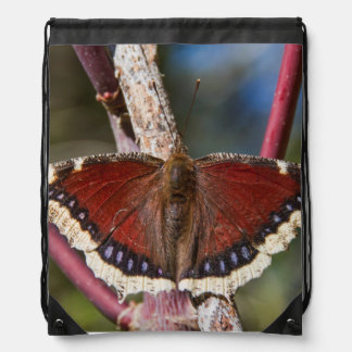 Mourning Cloak Butterfly Drawstring Bag