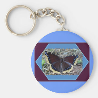 Mourning Cloak Butterfly Keychain