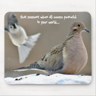 Mourning dove and titmouse mouse pad
