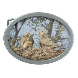 Mourning Dove Couple Oval Belt Buckle