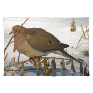 Mourning Dove in Snow Photo Cloth Placemat