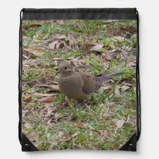 Mourning Dove or Turtle Dove on the Ground Drawstring Backpacks