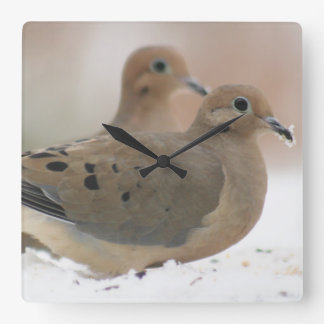 Mourning dove photography square wall clock