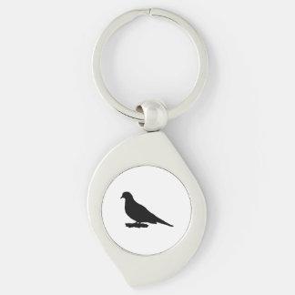 Mourning Dove Silhouette Love Bird Watching Keychain