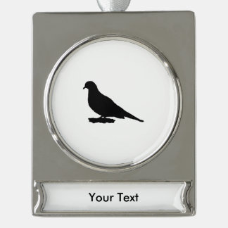 Mourning Dove Silhouette Love Bird Watching Silver Plated Banner Ornament