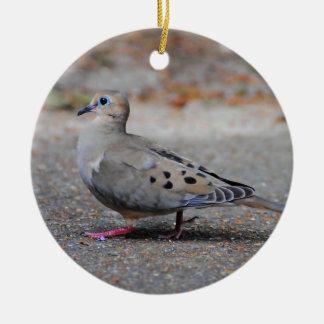 Mourning Dove Taking a Walk Ceramic Ornament