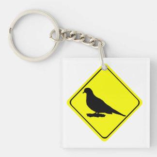 Mourning Dove Warning Sign Love Bird Watching Keychain