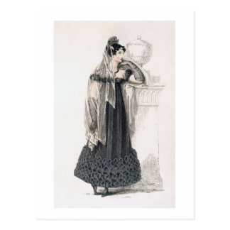 Mourning dress, fashion plate from Ackermann's Rep Postcard