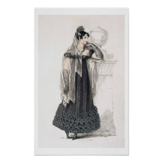 Mourning dress, fashion plate from Ackermann's Rep Poster