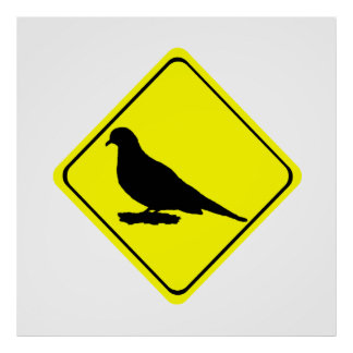 Mourning Love or Turtle Dove Caution Crossing Sign