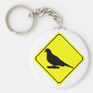 Mourning Love or Turtle Dove Caution Crossing Sign Keychain