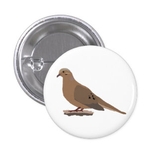 Mourning, Love or Turtle Dove Digitally Drawn Bird Button