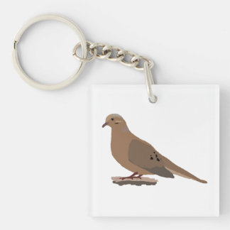 Mourning, Love or Turtle Dove Digitally Drawn Bird Keychain