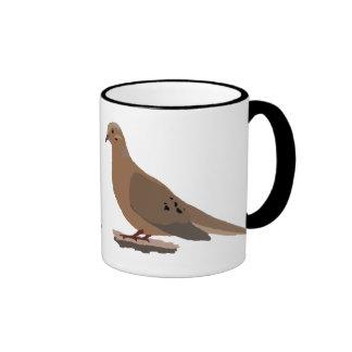 Mourning, Love or Turtle Dove Digitally Drawn Bird Ringer Coffee Mug