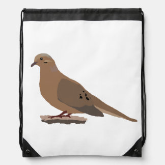Mourning, Love or Turtle Dove Digitally Drawn Bird Drawstring Backpack
