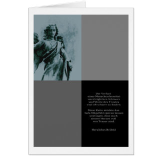 Mourning map angel with text greeting card