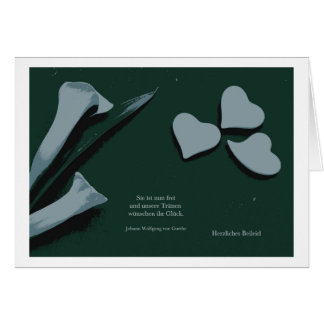 Mourning map Calla heart Greeting Card