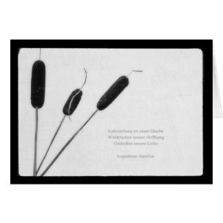 Mourning map plant with saying greeting card