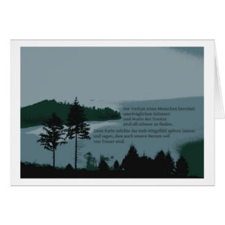 Mourning map with text greeting card