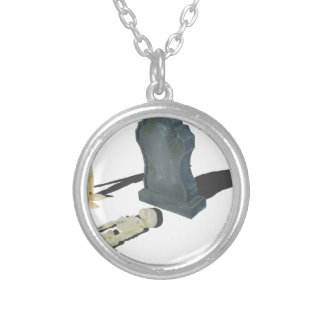 MourningAtTombstoneWithSkeleton070315.png Round Pendant Necklace