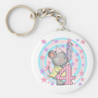 Mouse 4th birthday T-shirts and Gifts Basic Round Button Keychain