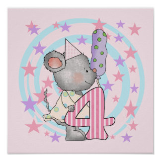 Mouse 4th birthday T-shirts and Gifts Poster