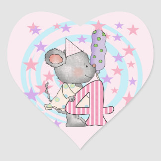 Mouse 4th birthday T-shirts and Gifts Heart Sticker